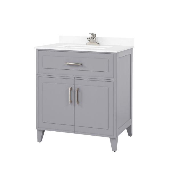 Denver 30 Pebble Grey, Pebble Grey Bathroom Cabinets