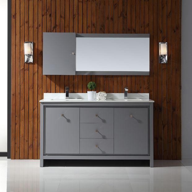 Kevin 60 In Pebble Grey, Pebble Grey Bathroom Cabinets