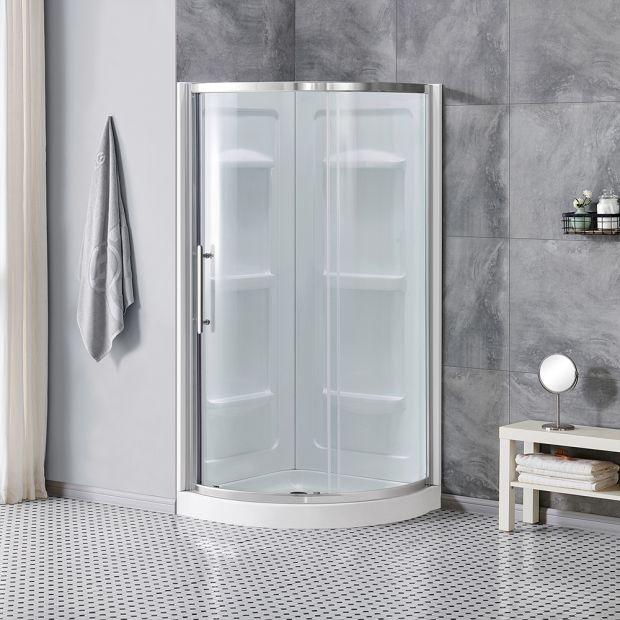 Noma 32 Round Corner Shower, Corner Shower Curved Glass Doors