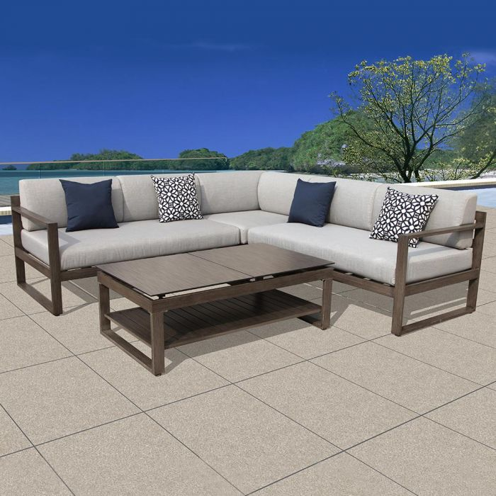 Ove Melia 4 Piece Aluminum Outdoor Sectional Set With Grey Cushions