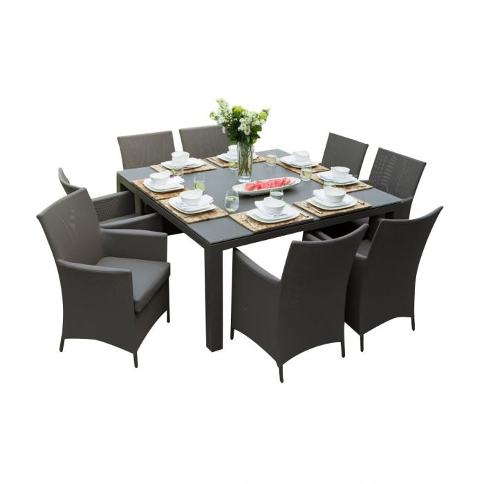 Ove Decors Calais 9 Piece Aluminum Square Outdoor Patio Dining Set