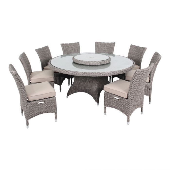 Ove Decors Habra Ii 9 Piece Aluminum Round Outdoor Dining Set With Sunbrella Cushions